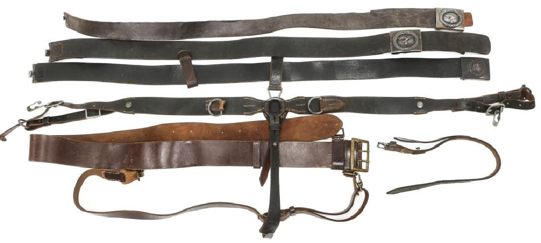 WWII GERMAN BELTS & COMBAT SUSPENDERS MIXED LOT