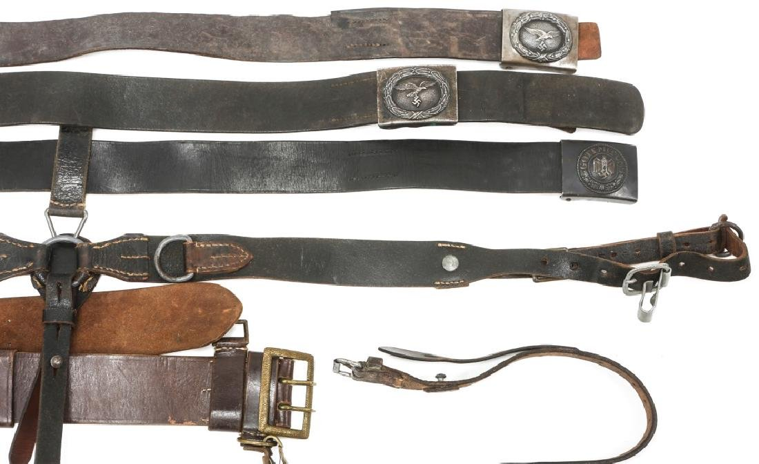 WWII GERMAN BELTS & COMBAT SUSPENDERS MIXED LOT - 3