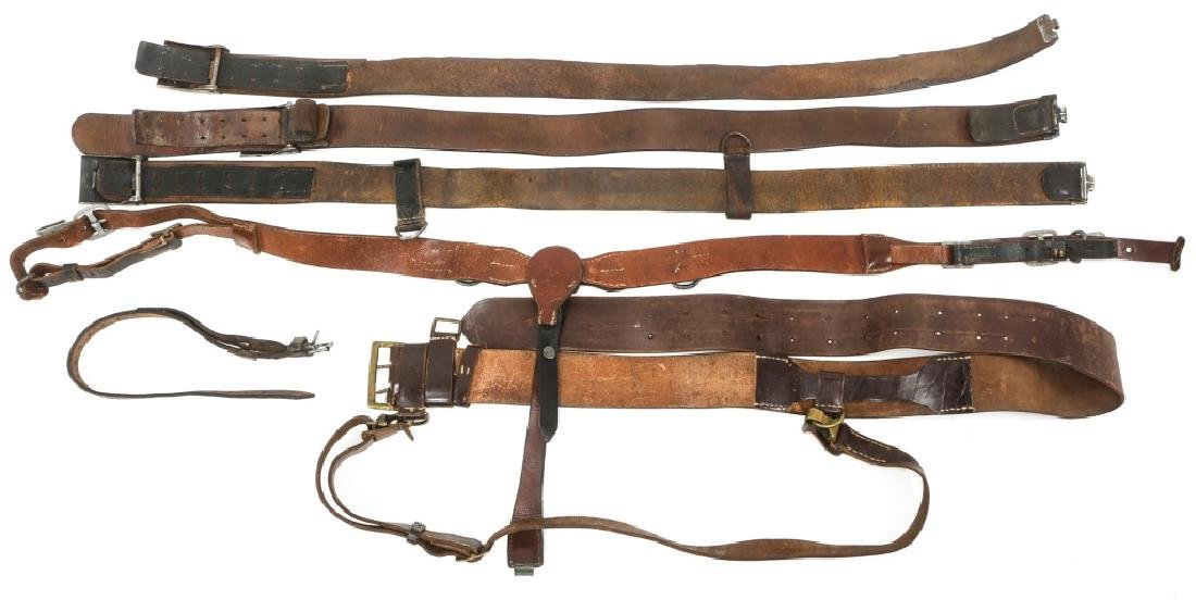 WWII GERMAN BELTS & COMBAT SUSPENDERS MIXED LOT - 4