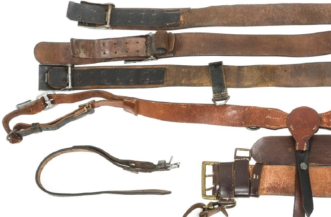 WWII GERMAN BELTS & COMBAT SUSPENDERS MIXED LOT - 5