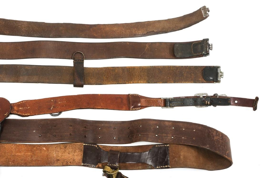 WWII GERMAN BELTS & COMBAT SUSPENDERS MIXED LOT - 6