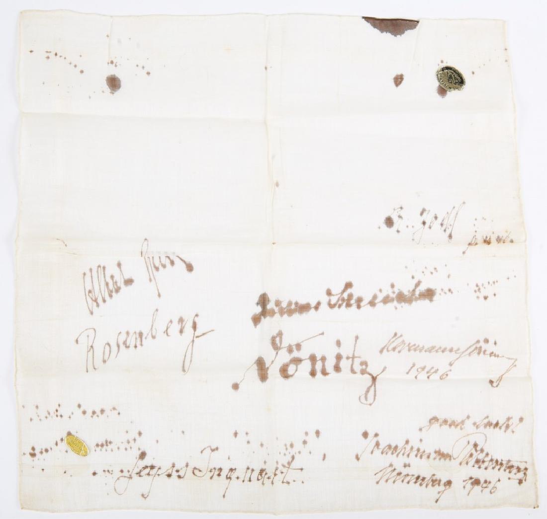 WWII NUREMBERG GERMAN PRISONER SIGNED HANDKERCHIEF