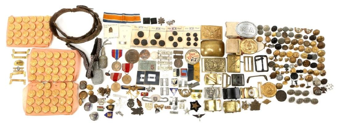 MIXED ERA MILITARY BUCKLES MEDALS PINS AND MORE