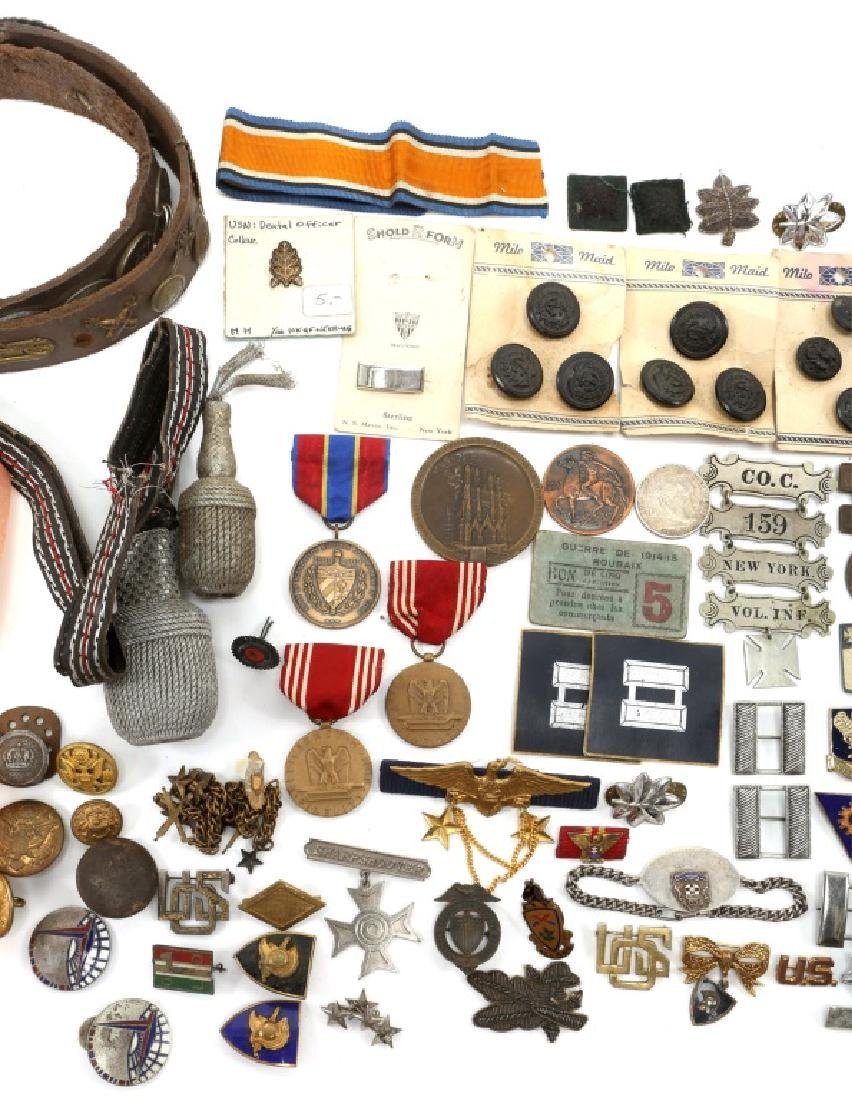 MIXED ERA MILITARY BUCKLES MEDALS PINS AND MORE - 3