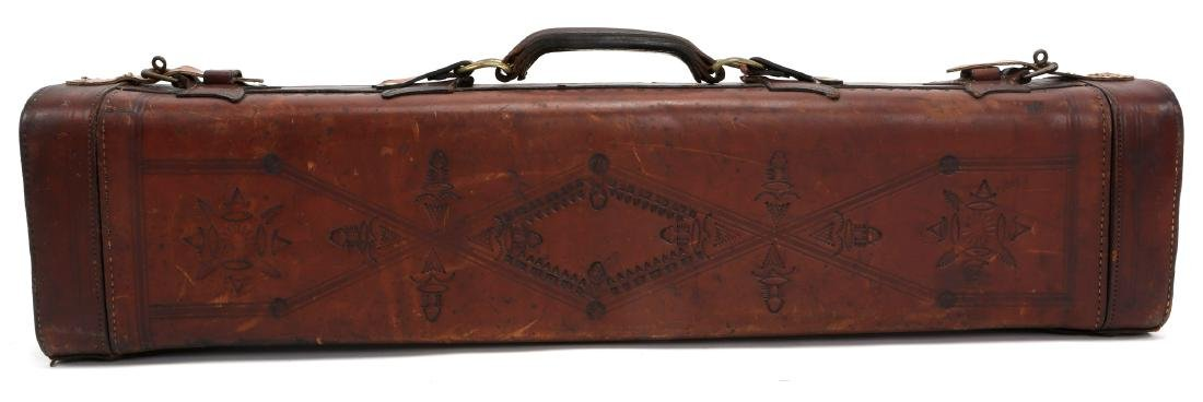 TOOLED LEATHER TRAP GUN CASE