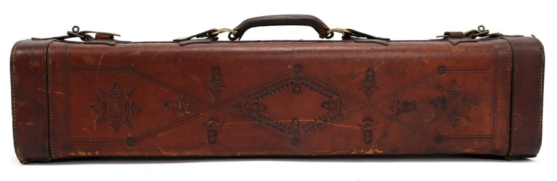 TOOLED LEATHER TRAP GUN CASE - 2