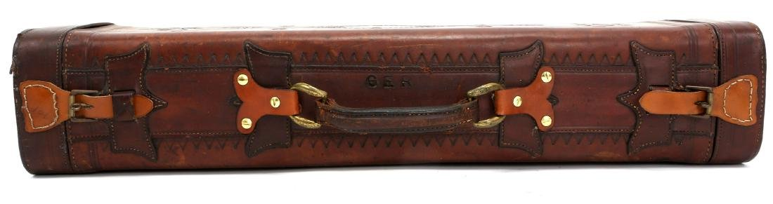 TOOLED LEATHER TRAP GUN CASE - 3