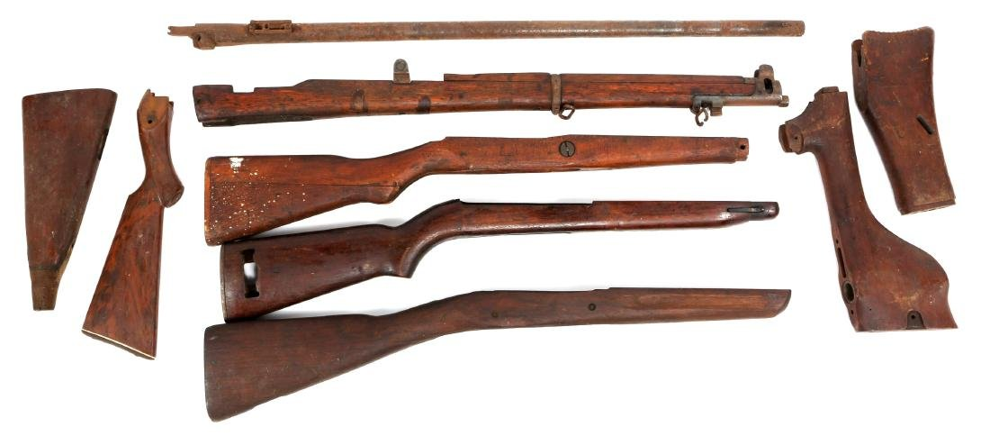 VINTAGE RIFLE STOCK AND BARREL LOT