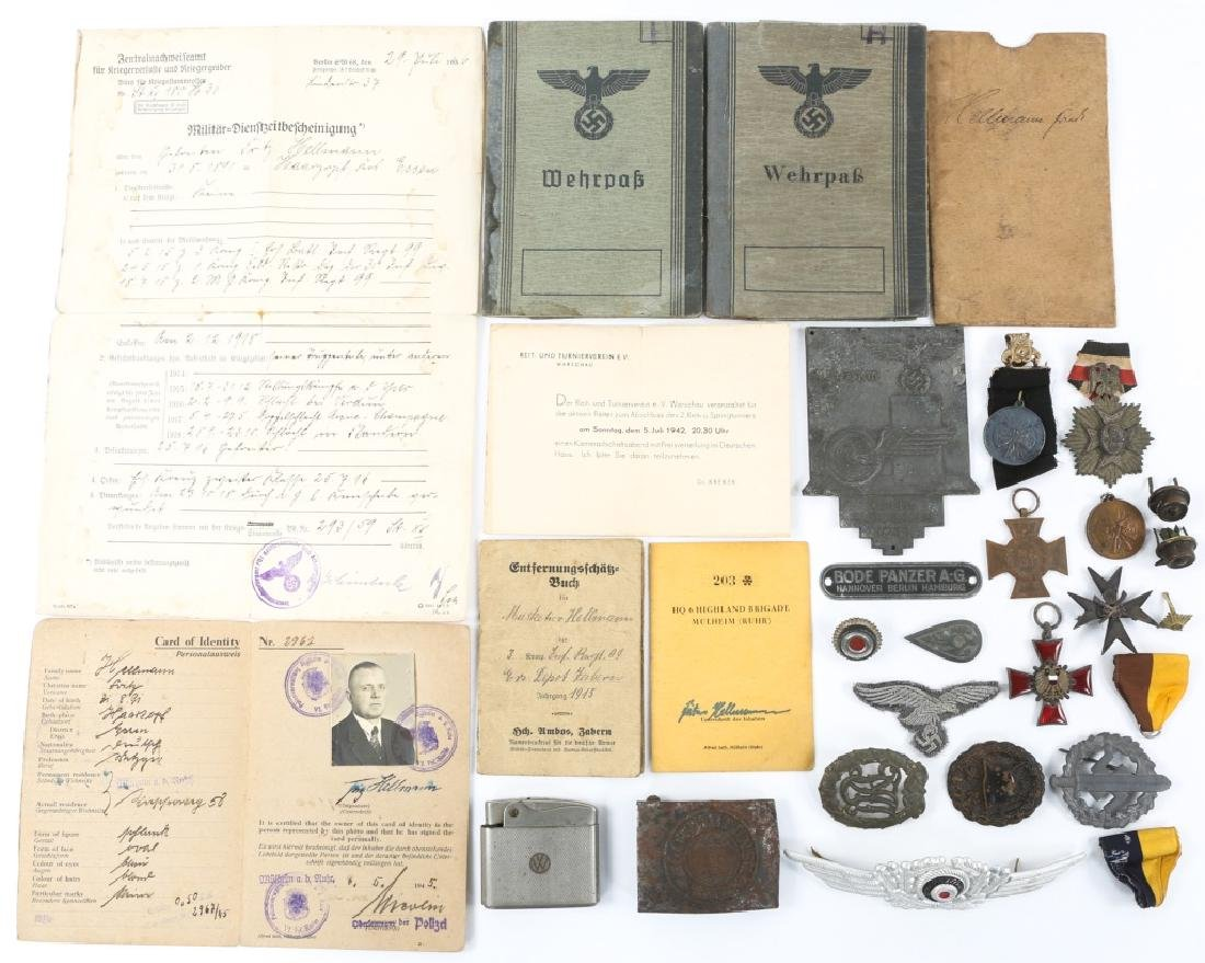 WWII GERMAN BADGE, MEDAL & BELT BUCKLE LOT