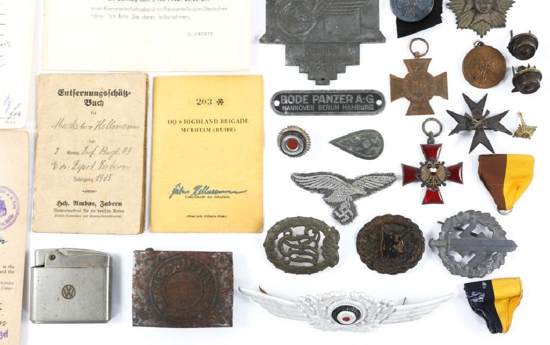 WWII GERMAN BADGE, MEDAL & BELT BUCKLE LOT - 5