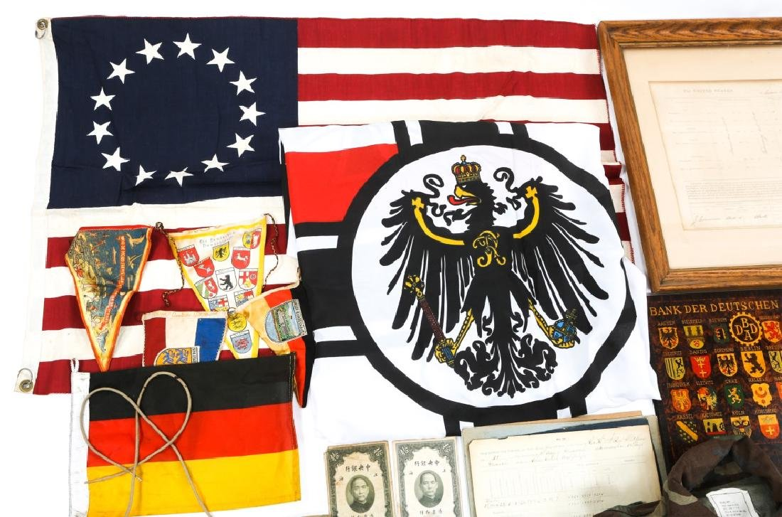 MIXED UNIFORM, FLAG & MILITARY ITEM LOT - 2