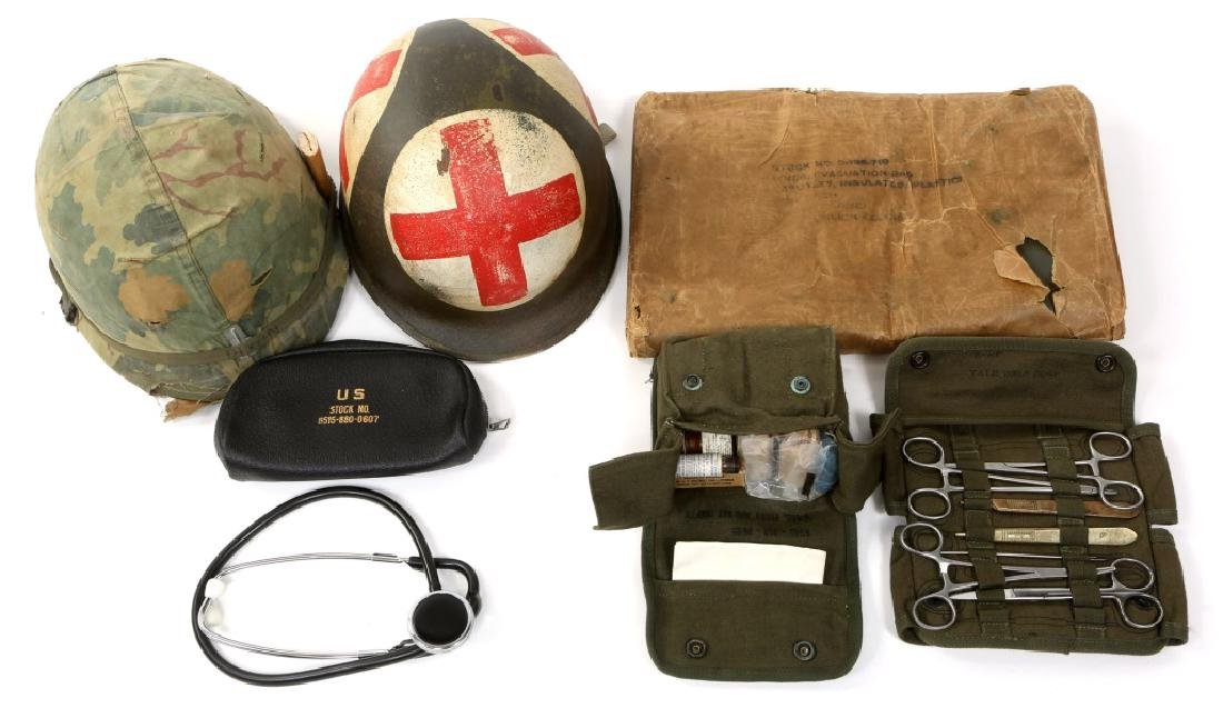 VIETNAM WAR US ARMY MEDIC HELMET & FIELD GEAR LOT