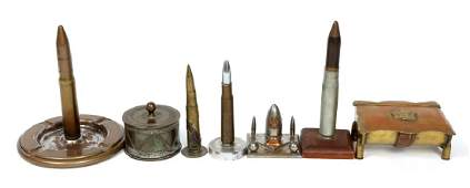 WWI  WWII WORLD TRENCH ART LOT OF 7