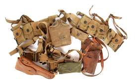 WWII US ARMY COMBAT BELT HOLSTER  POUCH LOT