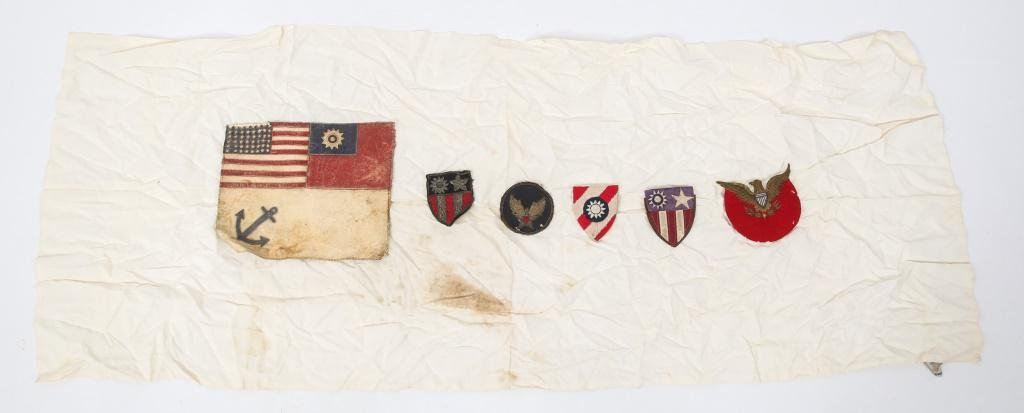 WWII US AAF CBI LEATHER BLOOD CHIT & PATCH LOT