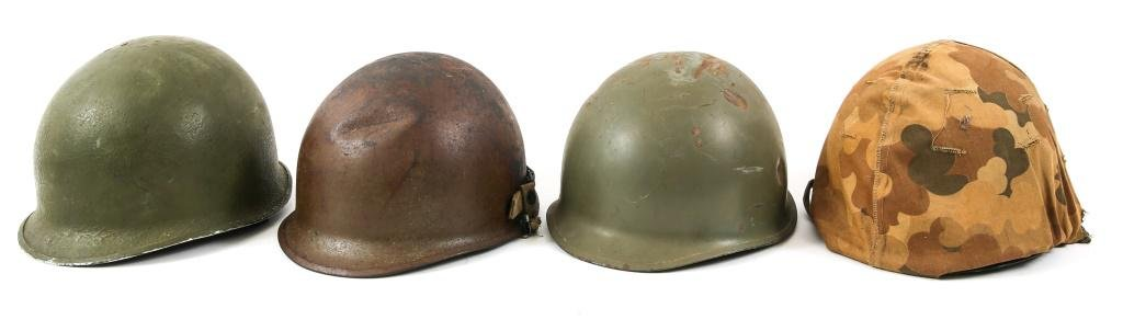 KOREA - VIETNAM WAR US ARMY M1 COMBAT HELMET LOT 4