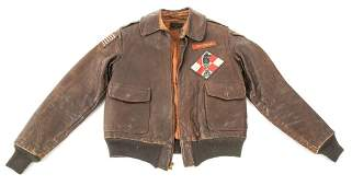 WWII 12th AAF 487th BS PAINTED A2 FLIGHT JACKET