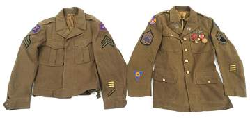WWII US ARMY ENLISTED TUNIC  IKE JACKET LOT OF 2