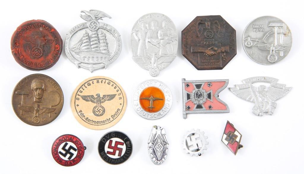 WWII GERMAN NSDAP INSIGNIA & TINNIES LOT OF 15