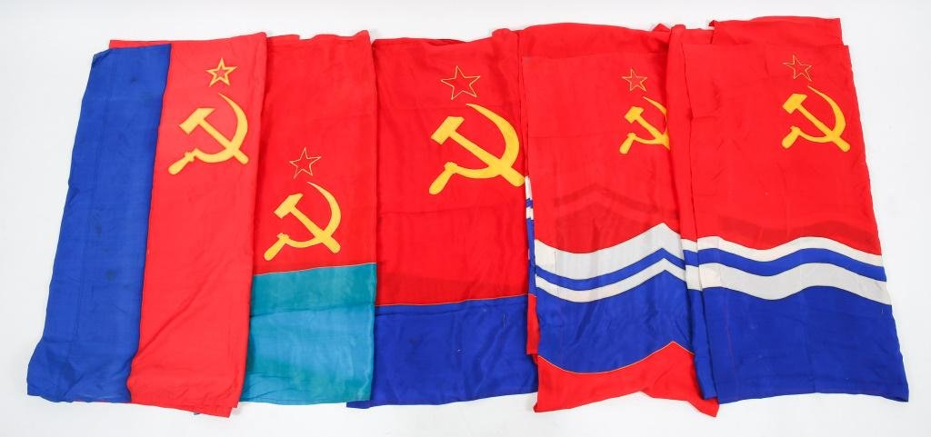 COLD WAR SOVIET REPUBLIC STATE FLAG LOT OF 5