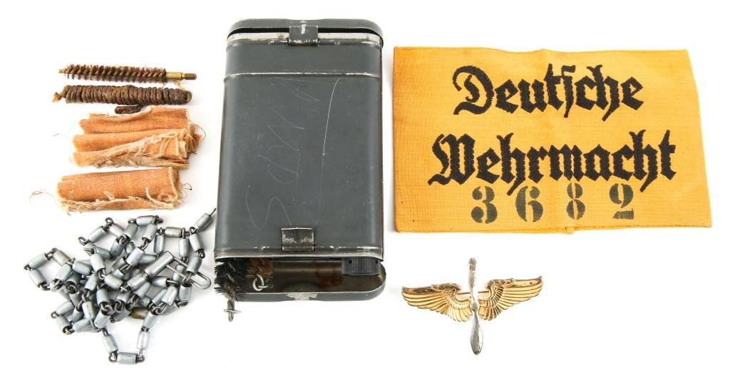 WWII GERMAN & US MILITARY ITEM LOT OF 3