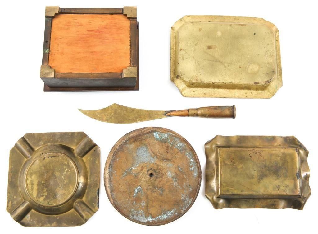 WWI - WWII WORLD MILITARY TRENCH ART LOT OF 6