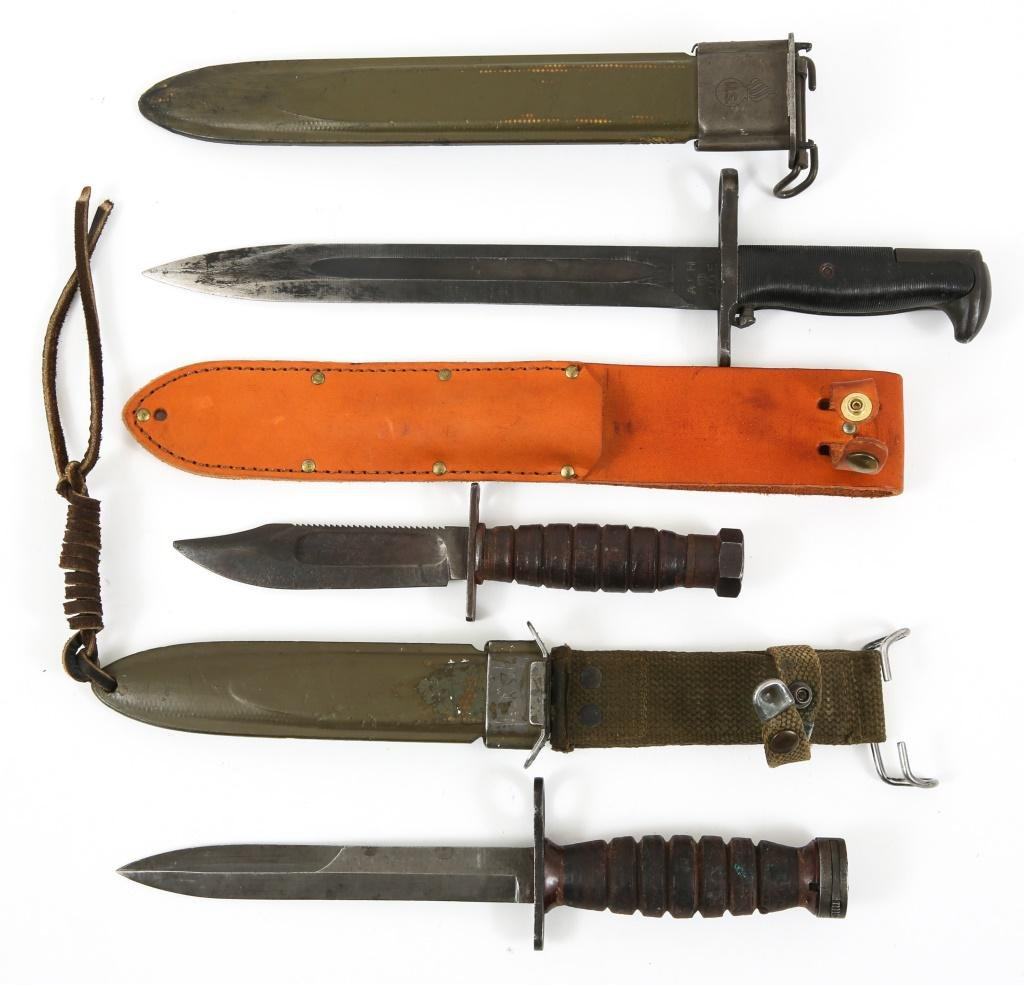 WWII US ARMY M1 & M4 BAYONETS AND CAMILLUS KNIFE