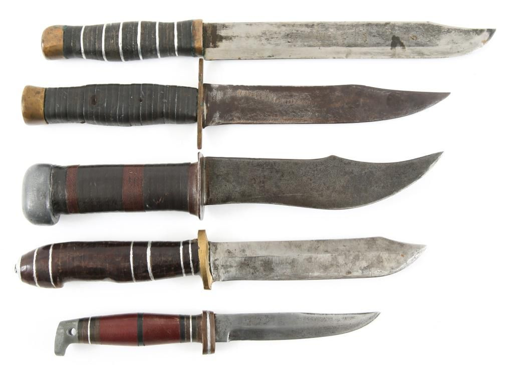 WWII THEATER MADE U.S. FIGHTING KNIVES LOT OF 5