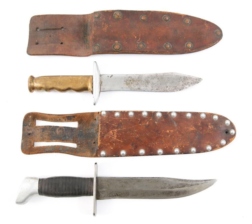 WWII US FORCES THEATER MADE COMBAT KNIVES LOT OF 2