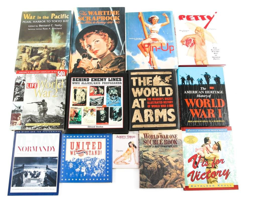 WWI AND WWII HISTORY AND ART BOOK LOT OF 13