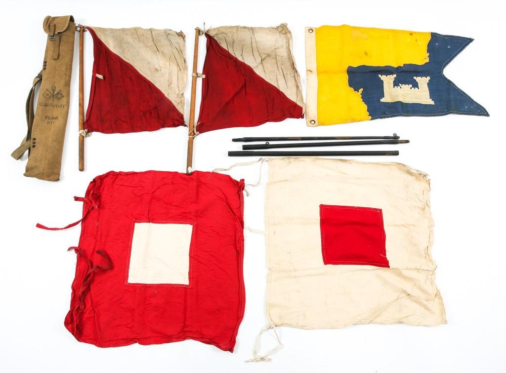 WWI US ARMY SIGNAL & CORPS OF ENGINEER FLAG LOT