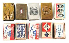 WWI  WWII US ARMY TRENCH ART MATCHBOOK HOLDERS