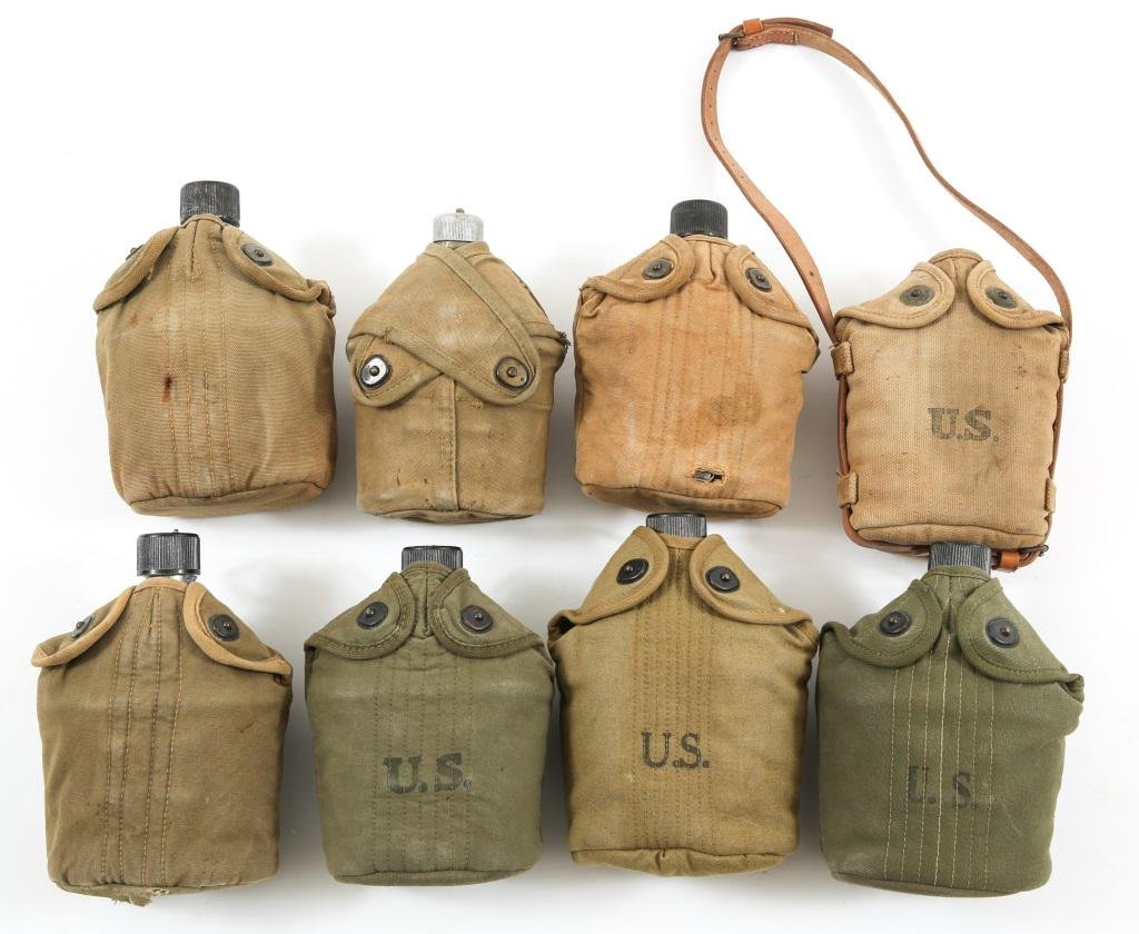 WWI - WWII US ARMY USMC CANTEEN LOT OF 8