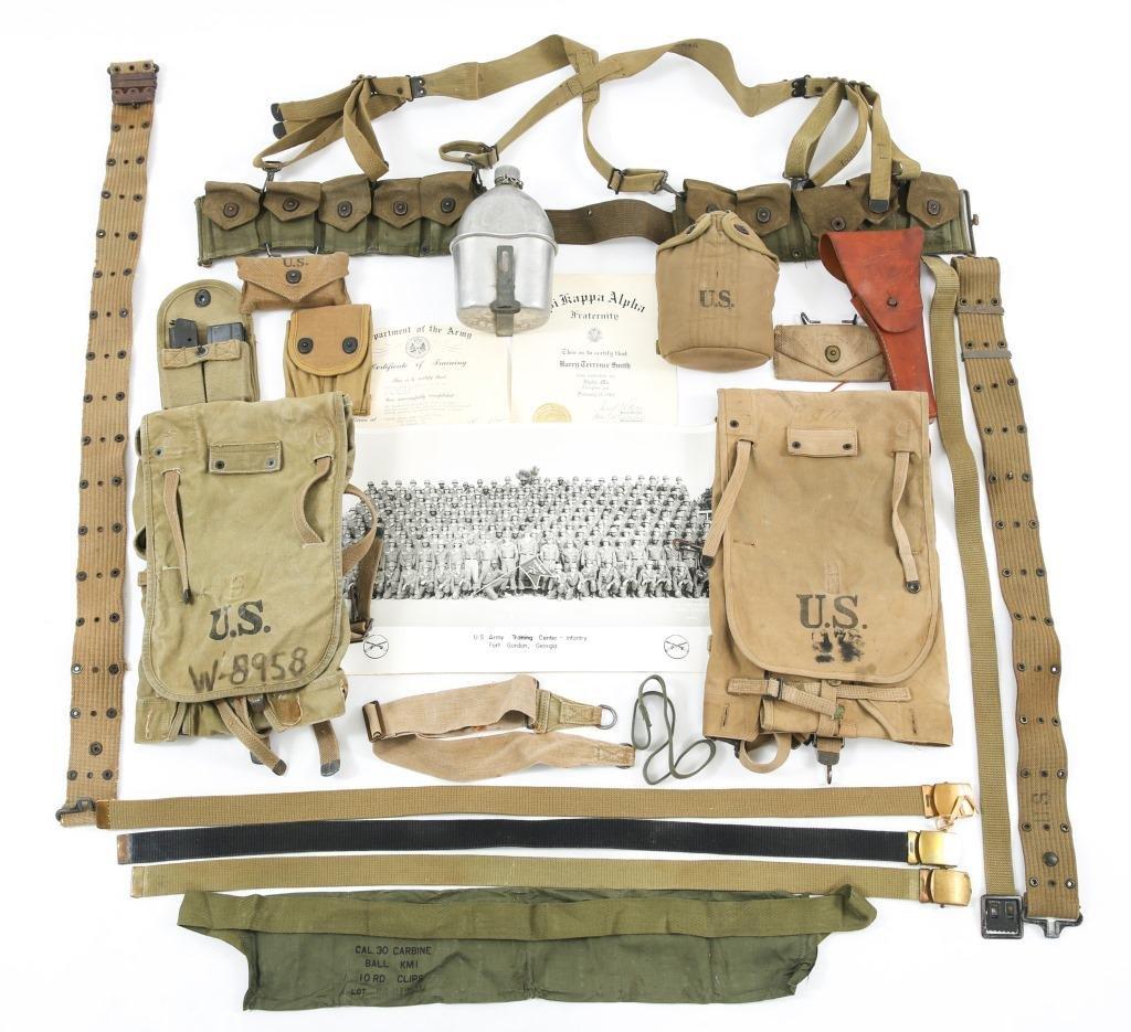WWI - WWII US ARMY COMBAT WEB FIELD GEAR LOT