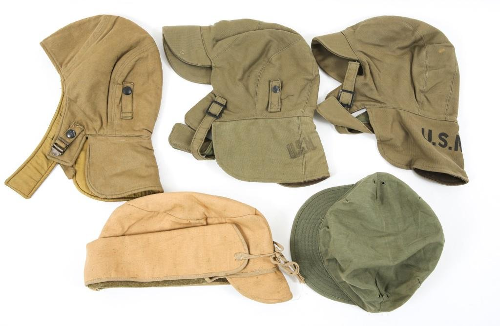 WWI - WWII US ARMY / NAVY FIELD CAP LOT OF 5