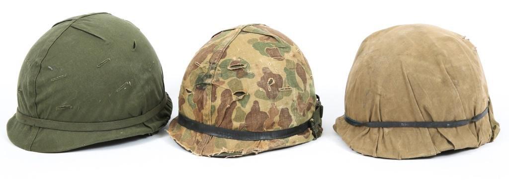 KOREA - VIETNAM US ARMY M1 COMBAT HELMET LOT OF 3