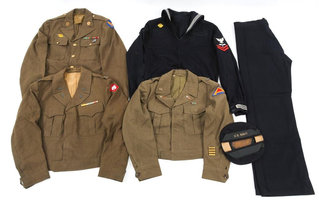WWII US ARMY & USN DRESS UNIFORM LOT OF 4
