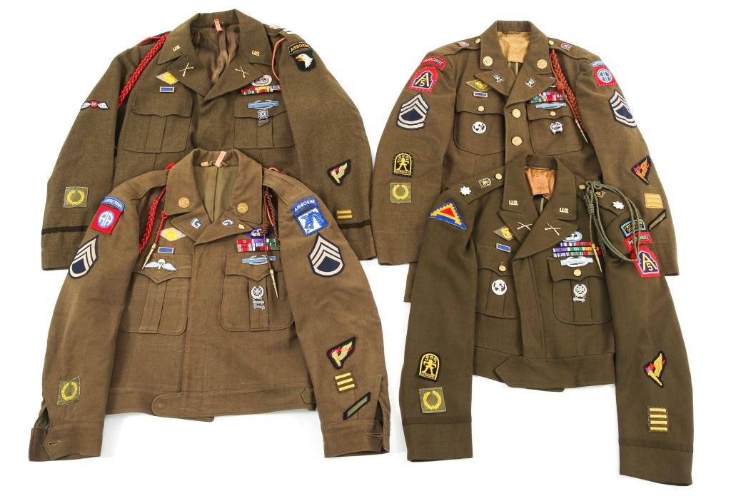 WWII US ARMY AIRBORNE NCO & OFFICER UNIFORM LOT