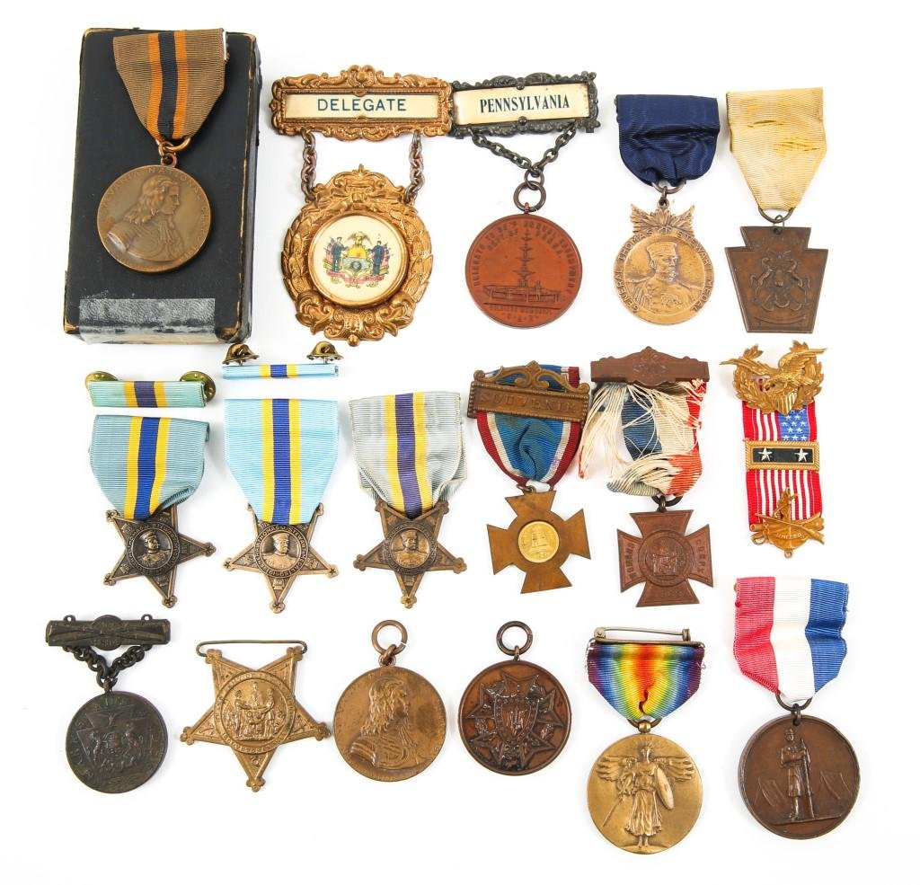 US ARMY GAR & WWI SERVICE MEDAL LOT OF 16