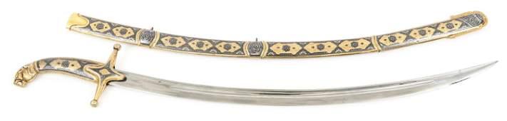 INLAYED PERSIAN SABER SHAMSHIR SWORD & SCABBARD