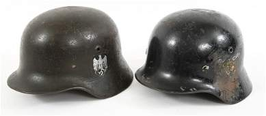 GERMAN WWII M35 & M40 DECAL HELMETS LOT OF 2