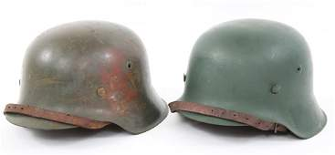 WWII GERMAN STAHLHELM M42 HELMETS LOT OF 2