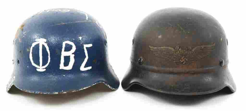 WWII GERMAN RLB LUFTSCHUTZ & PAINTED M40 HELMETS