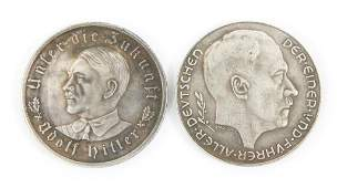 WWII GERMAN ADOLF HITLER 1933  1938 MEDALS LOT