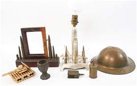 WWI WWII TRENCH ART LOT LAMP PHOTO FRAME  MORE