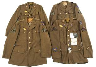 WWII USAAF ENLISTED - NCO DRESS TUNIC LOT OF 4