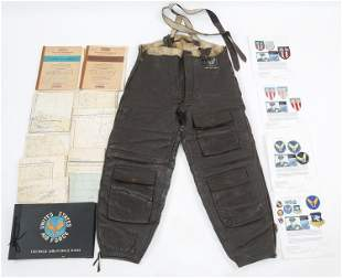 WWII USAAF AVIATION CHARTS, PATCHES & TROUSERS LOT