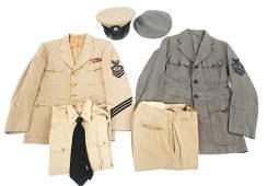 WWII US NAVY CPO KHAKI SUMMER & GRAY UNIFORM LOT