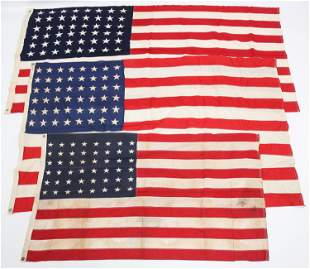 WWII HOME FRONT US 48 STARS FLAG LOT OF 3