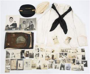 WWI & WWII US NAVY PHOTO ALBUM UNIFORM & CAPS LOT
